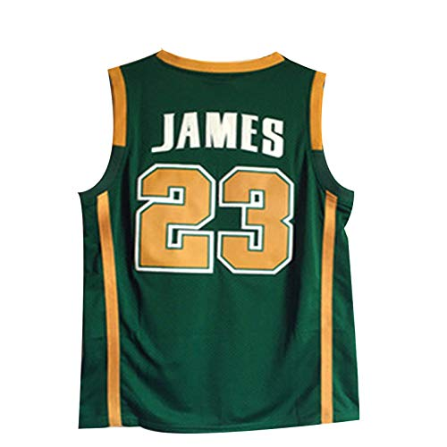 Lakers James #23 - Camiseta de baloncesto para adultos, para hombre, bordado con letras y números, color verde - XL