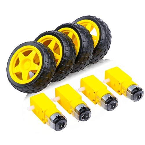 Sanfiyya Juego de Ruedas Motor eléctrico de CC TT Motor Llantas de Robot Inteligente del Modelo del Coche de Productos electrónicos de Bricolaje 4PCS