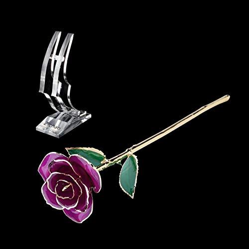 Socobeta Eternal Rose Ewigkeits-Rose plattiert nicht verblühend Ewige 24 K Gold Rosen, 24 K Gold getaucht echte Rose (lila Rose mit Ständer) Geschenk für Valentinstag