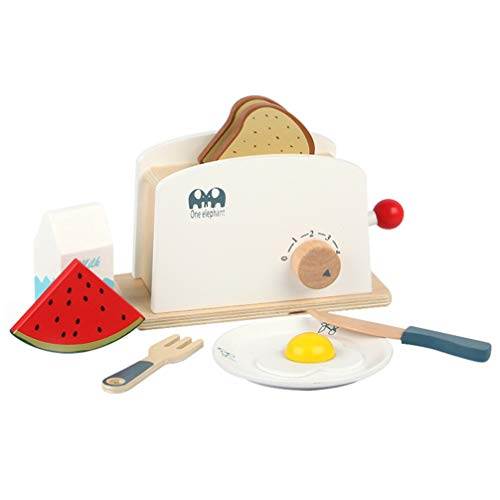 Kisangel 1 Juego de Tostadora de Juguete para Niños Juego de Tostadora Juego de Madera Juguetes de Cocina Multicolor