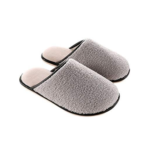 ZRL Antideslizante Zapatillas de Estar por Casa de Algodón Zapatos de Invierno Cálidos de Pareja Estilo Hombre Y Mujer Zapatos Casuales para Estudiantes de Damas Suave (Color : Grey, tamaño : 41-42)