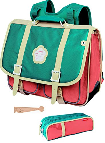 Lot Cartable Kickers Rose Turquoise 38 cm + 1 Trousse...