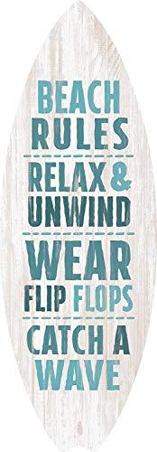 qidushop Holzschild, Motiv: Strandregeln, Relax Unwind Surfbrett, für Zuhause, Wanddekoration, Geschenk, Heimwerkerschild für Frauen und Männer, Einweihungsgeschenk