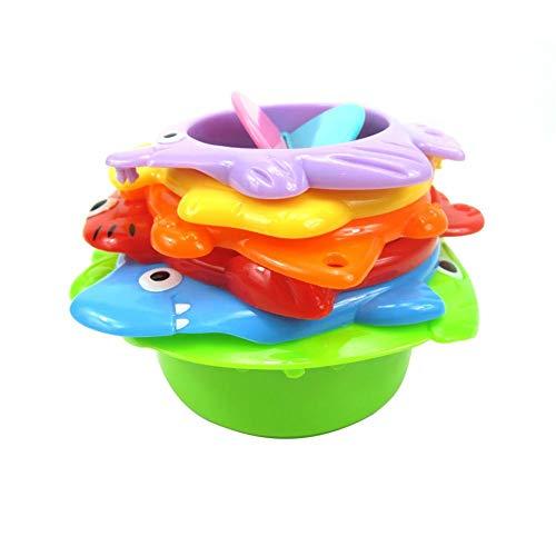 Copas apilables Juguetes de baño para niños pequeños Apiladores de Animales Marinos con Agujeros para rociar Agua y tamizar Arena