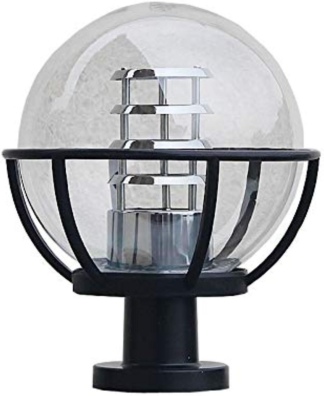DFEIL Moderne amerikanische Weinlese-im Freienkugel-Zaun-Pfosten-Licht IP54 imprgniern transparentes Gelnder-Spalten-Lampen-europischen Rasen-Landschaftsstraen-Hof-Pfosten-Laterne