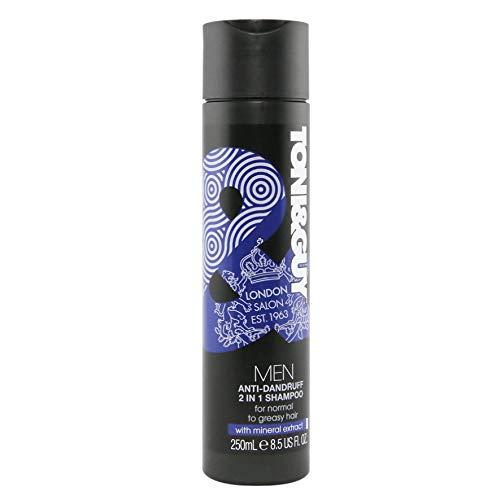 Toni&Guy Men 2 in 1 Anti-Schuppen-Shampoo I Friseur-Shampoo für normales bis fettiges Haar I Pflege-Shampoo Herren I Haarshampoo gegen Schuppen für Männer I Reinigt & beruhigt juckende Kopfhaut 250 ml