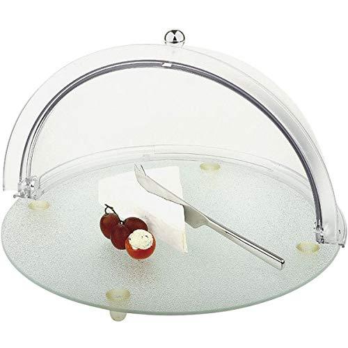 APS 978 Buffet Set Glas Board mit Antirutschfüßenn und Kratzfester Roll-Top Abdeckung, Ø 38 x 23 cm