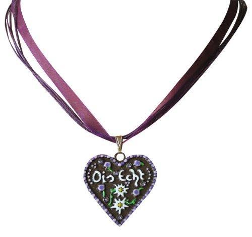 Ois Echt® Trachtenschmuck Lebkuchenherz Trachtenkette - Herz mit der Aufschrift Ois Echt - Lila Violett