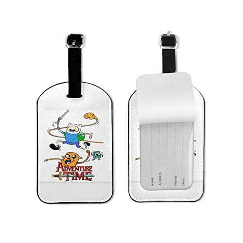 Adv-enture Time Luggage Tags Suitcase Card Holder Bag Tag Name Address ID Bag Label Microfiber PU Leather 2.7*4.3inch