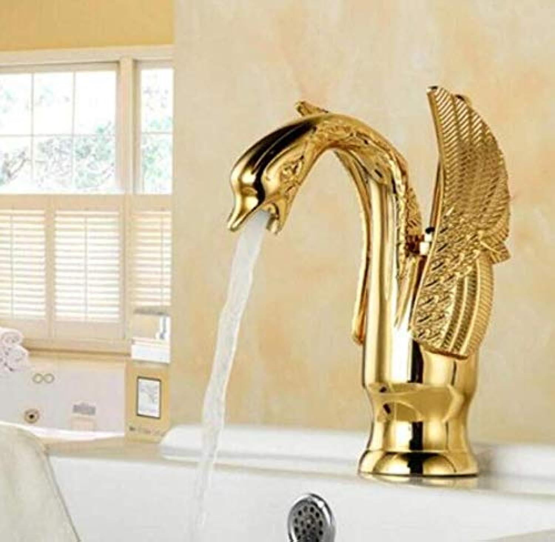 Edelstahlhahn Weie Chrombadhahnwasser-Becken-Mischbatterie Chrom-Finish-Messing-Sink Water Crane Gold