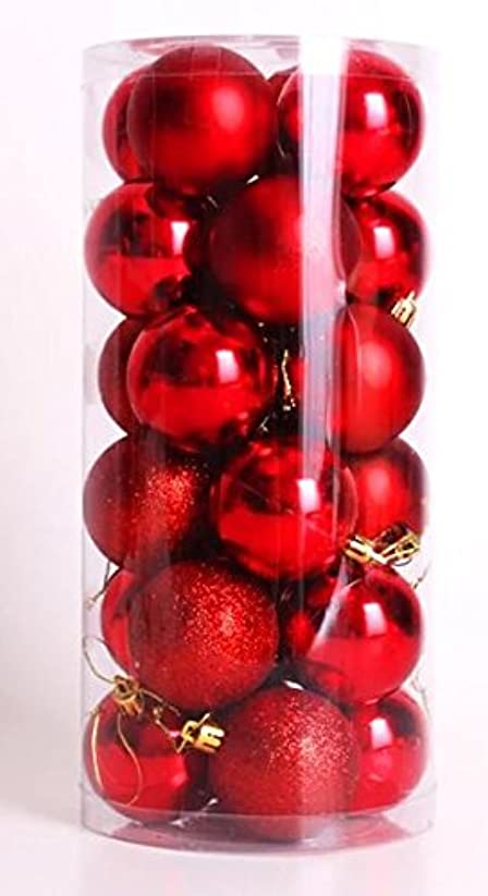 目の前のかもめだらしないクリスマス 飾り ボール オーナメント 4cm 赤 24個 / 球 玉 レッド Xmas 装飾 アレンジ デコレーション 40mm