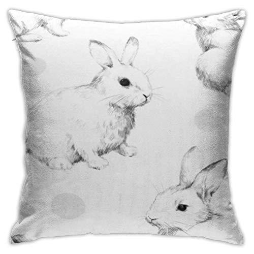 Throw Pillow Cover Grey Bunny Drawing Rabbits Collage Cute Fuzzy Pattern Lápiz Sketch Círculos Funda de Almohada Negra Funda de cojín
