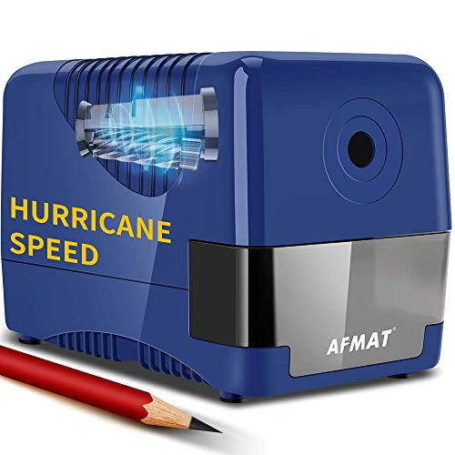Electric Pencil Sharpener Heavy Duty, Pencil Sharpener Plug In, Auto Stop Classroom Pencil Sharpener, 10000 Times Sharpening for Heavy Use, 1s Fast Sharpen, Super Sharp for 6.5-8mm No.2 Pencils, Blue