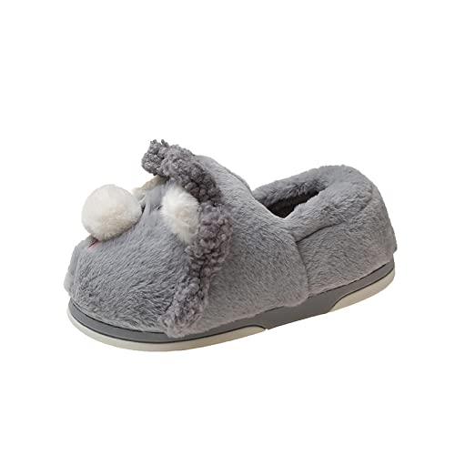 Ciabatte Peluche Donna,Scarpe di Cotone per La Casa, Pantofole per Bambini per Adulti Autunno E Inverno Nuove Simpatiche Pantofole da Cartone Animato, Calde Pantofole da Giardino per Interni-Grigio_4