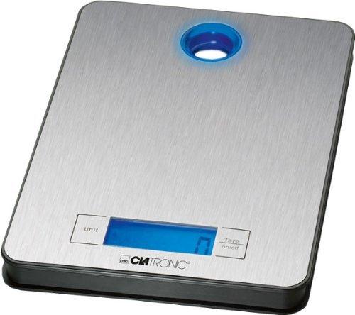 Clatronic Küchenwaage KW 3412, Wiegefläche aus Edelstahl, LCD-Display, bis 5kg in 1g-Schritten (g, kg, lb, oz), Tara-Funktion