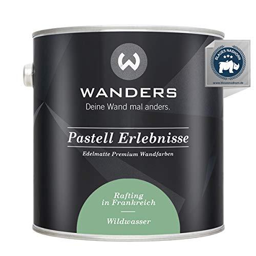 Wanders24® Pastell Erlebnisse (2,5 Liter, Wildwasser) edelmatte Wandfarbe - Feine Farben - in 40 Farbtönen - Wandfarbe Grau - Made in Germany