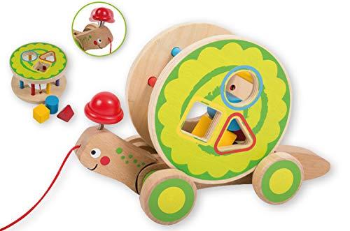 Smart Planet - Steckspiel Schildkröte Ziehtier Kinder Spielzeug mit Schnur und Rollen - Jouéco® - zum Ziehen, Rollen, Stecken 5 teiliges Set