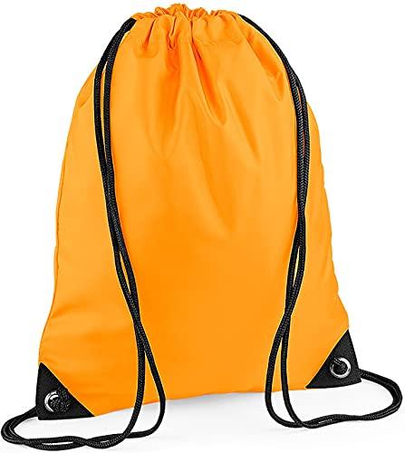 CLOTHING Sacca Zaino Sportivo Impermeabile Borsa Zainetto in Nylon con Angoli rinforzati per Scuola Scarpe Piscina Palestra Sport Adulto Bambino Lyon Team WGF (Arancione Neutro)