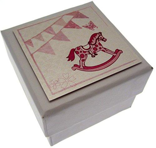 Witte katoenen kaarten roze Rocking Horse & Bunting Mini Favour Box (ideaal voor baby douches, krullen, ziekenhuis armband of eerste tand)