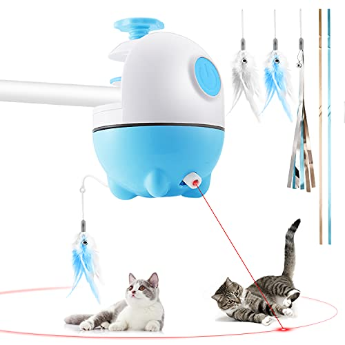 Biilaflor Interactive Cat Laser Toy Cat Feather Toy Cat Toy 2 in 1 Automatic 360 Degree Self Rotating Ball USB Rechargeable Electronic Kitten Toy for Cat Exercise and Chasing Hunting