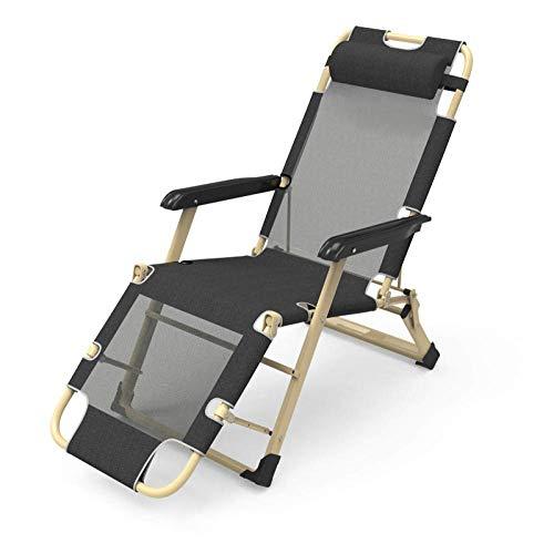 NMDCDH Sillón reclinable Ajustable con reposacabezas, Tumbona Plegable, Tumbona con colchón, Reposacabezas móvil, Aluminio anticorrosivo, Transpirable, Cómodo, Carga reclinable 160 Kg-Teslin Black