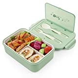 Bento Box for Kids & Adults, Lunch Container with Spoon & Fork,Reusable 3-Compartment