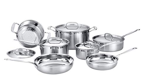 Deco Chef - Set di pentole professionali in acciaio INOX, 12 pezzi, con base a triplo strato e manici rivettati, per una cottura uniforme e uniforme