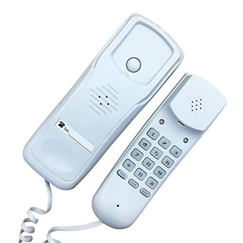 GeKLok Teléfono de casa Teléfonos fijos de montaje en pared multifunción Teléfonos fijos portátiles con mango para oficina Hotel Recepción (blanco)