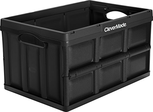CleverMade CleverCrates 46 Liter Collapsible Storage Bin/Container: Solid Wall Utility Basket/Tote, Black