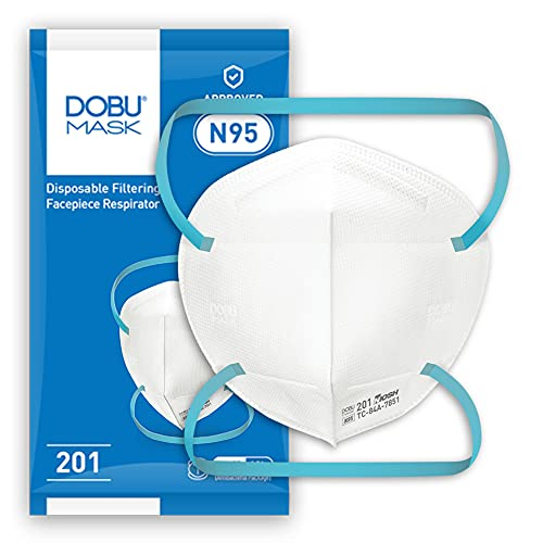niosh n95 masks DOBU N95 Respirator Mask model 201, NIOSH Certified, 25 masks individual package, Stretchable braided head straps, Medium size