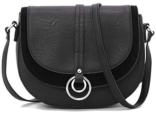 forestfish Women Crossbody Bag Saddle Bag Shoulder Bag Purse Handbag for Women Girls, Black