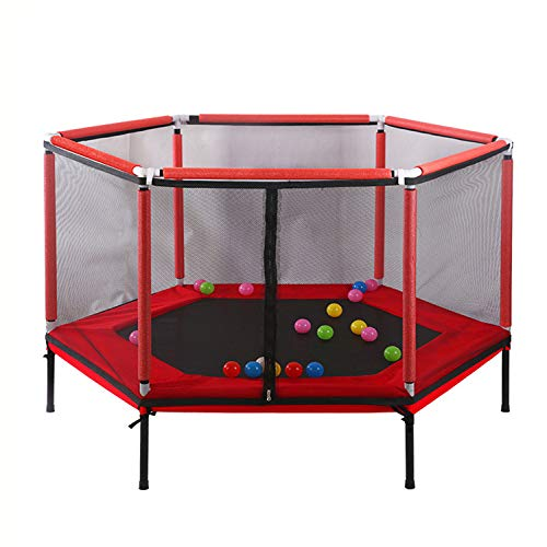 WQUI Children Trampoline,with Safety Net Jump Pad,Easy To Assemble Indoor Or Outdoor Garden Trampoline,Suitable For Home And School Entertainment,Red