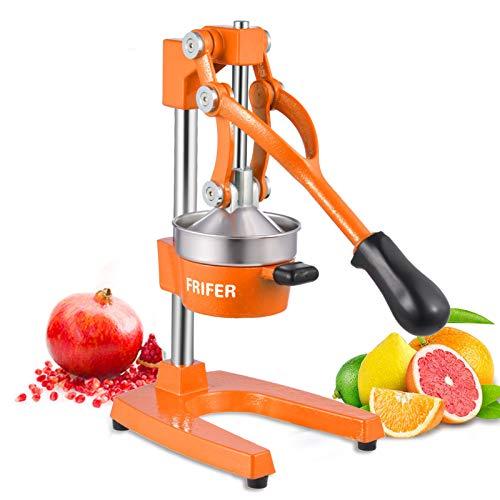 Frifer Exprimidor manual de limón, exprimidor manual de prensa, exprimidor manual profesional de acero inoxidable, exprimidor de frutas de grado comercial para limón, lima, naranja, granada (naranja)