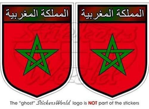 StickersWorld – Lot de 2 autocollants vinyle motif bouclier marocain 75 mm
