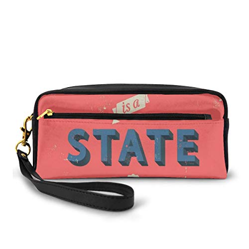 Pencil Case Pen Bag Pouch Stationary,Success is A State of Mind in Retro Style Theme Motivational Quote Classic Print,Small Makeup Bag Coin Purse