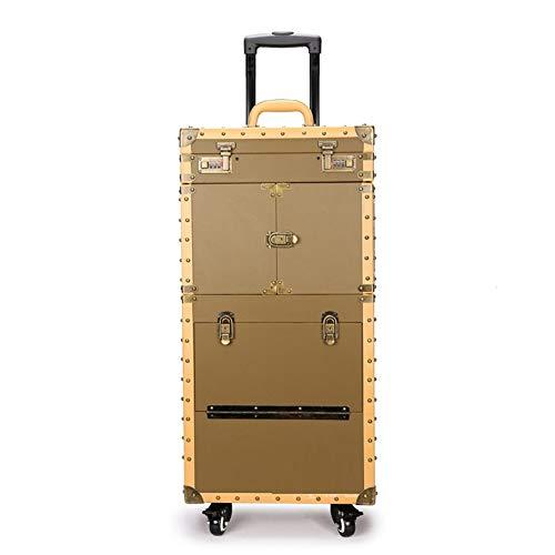 Vrouwen grote capaciteit Trolley Cosmetische koffer Rolling Bagage tas, Stylist Retro Schoonheid Tattoo Trolley Suitcase, Nagels Make-up Toolbox Goud