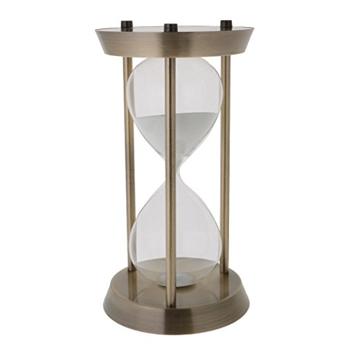 ZYAQ Vintage Metal Frame Hourglass Sandglass Sand Timer Desk Table Book Shelf Home Decoration (30 Minutes, Gold)