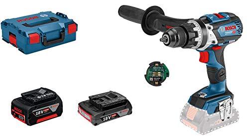 Bosch Professional Taladro percutor inalámbrico, 18V System GSB 18V-85 C (par máximo: 110 Nm, incluye módulo de conectividad, batería de 1x5.0 Ah, batería de 1x3.0 Ah, en L-BOXX 136)