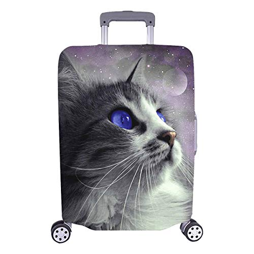 InterestPrint Funny Cat in Space Galaxy Travel Luggage Cover Suitcase Baggage Protector Fit 18'-21' Suitcase