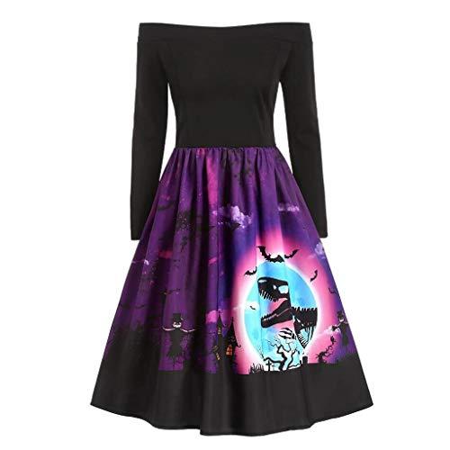Damen Kleid FGHYH Frauen-Weinlese-Lange Hülsen-Halloween-50er Hausfrau-Abend-Partei-Abschlussball-Kleid(M, Schwarz)
