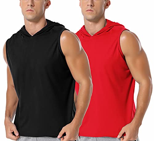 Babioboa Men's 2 Pack Workout Hooded Tank Tops Sleeveless Gym Hoodie Bodybuilding Muscle Cut Off T-Shirts Black/Red