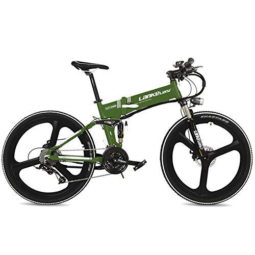 LANKELEISI XT750 240W Bicicletta a pedalata assistita piegante Pieghevole di Alta qualità 26', Ruota Integrata, adotta Batteria al Litio Nascosta 36V 12.8Ah, velocità 25~35km / h,Pedelec.