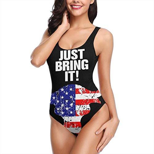 Just Bring It Bull USA Flag Bikini Traje Baño Playa Traje Baño Una Pieza Traje Baño Entrenamiento Atlético Sexy Cross Lace Up Trajes Baño Estampado Espalda Baja L
