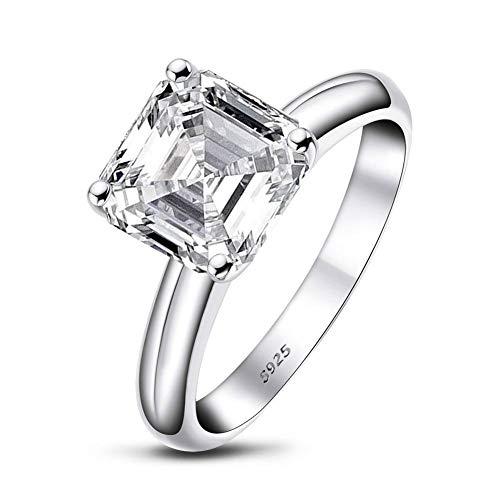 Anillo AINUOSHI, anillo de compromiso, anillo de plata de ley 925, anillo de 3 quilates, anillo cuadrado de 9x9 mm