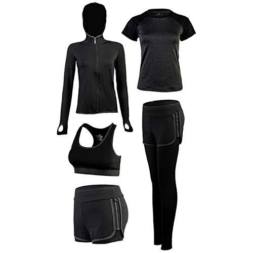 SCHUANG Frauen Yoga Anzug 5PCS Mantel Kurzarm T-Shirt BH Shorts Hosen Set Damen Sport Fitness Gym Tragen Trainingsanzüge Dunkelgrau S-2XL,Darkgrey-L