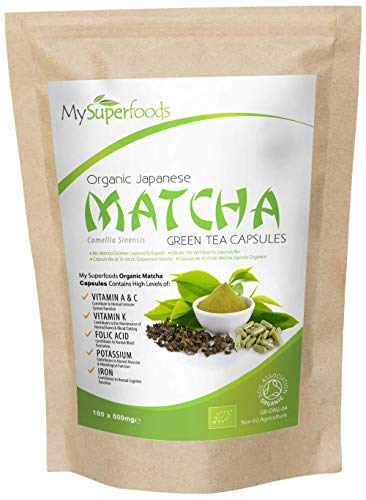 Organic Matcha Green Tea Capsules (180 x 500mg), Every Batch Lab Tested for Purity, by MySuperfoods