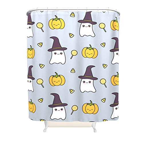 nanjingjin Shower Curtains Halloween Bottom's Weighted Durable Fabric Bath Curtain Suitable for Home & Hotel & Dormitory & Apartment & Villa White 91 x 180 cm