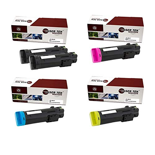 Laser Tek Services Compatible 825 593-BBOW 593-BBOX 593-BBOY 593-BBOZ Toner Cartridge Replacement for Dell H625cdw H825cdw, S2825cdn Printers (Black, Cyan, Magenta, Yellow,5 Pack)