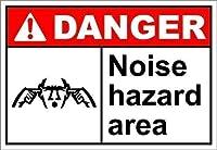 金属錫看板装飾鉄塗装インチ、ノイズハザードエリアの危険、金属錫看板、錫看板ヴィンテージコーヒーウォールコーヒー&私有財産のバーの装飾、屋外危険看板