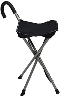 Mac Sports Folding Cane Chair for Women and Men | Walking Stick, Stool-Style, Folding Cane, Cane with Seat, Quad Base, Collapsible, Folding Stools for Adults and Seniors, Travel Friendly | Black